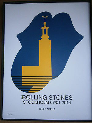 the Rolling Stones poster lithograph 14 on fire tour 2014-Stockholm-no filter