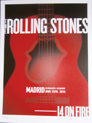 the Rolling Stones barcelona madrid poster lithograph 2014- 14 on fire tour-
