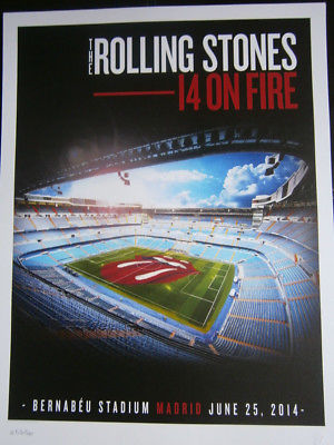 the Rolling Stones barcelona madrid poster lithograph 2014- on fire tour-spain