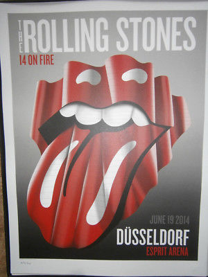 the Rolling Stones Dusseldorf poster lithograph- 14 on fire tour-no filter