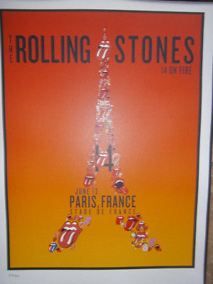 the Rolling Stones Paris france poster lithograph 2014- on fire tour-no filter