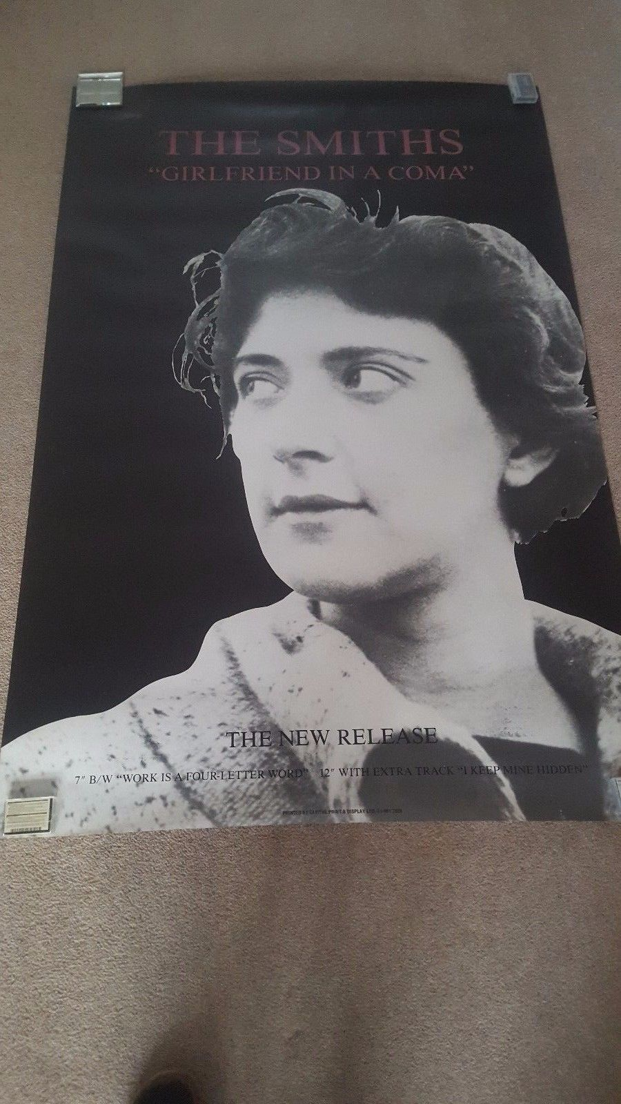 """The Smiths """"Girlfriend In A Coma"""" 60"""" X 40"""" Original Subway Promo Poster"""