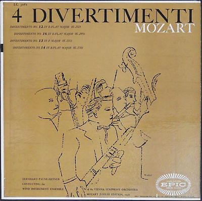 ANDY WARHOL Art Cover MOZART 4 Divertimenti 1956 LP Record Sleeve Artwork