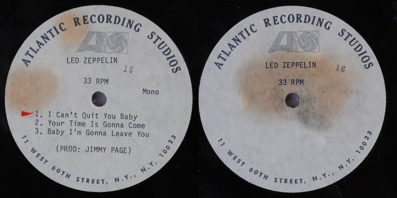 "VERY RARE LED ZEPPELIN 12"" ACETATE ON ATLANTIC 1969"