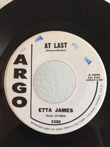Soul PROMO 45 Etta James At Last on Argo VG++ HEAR