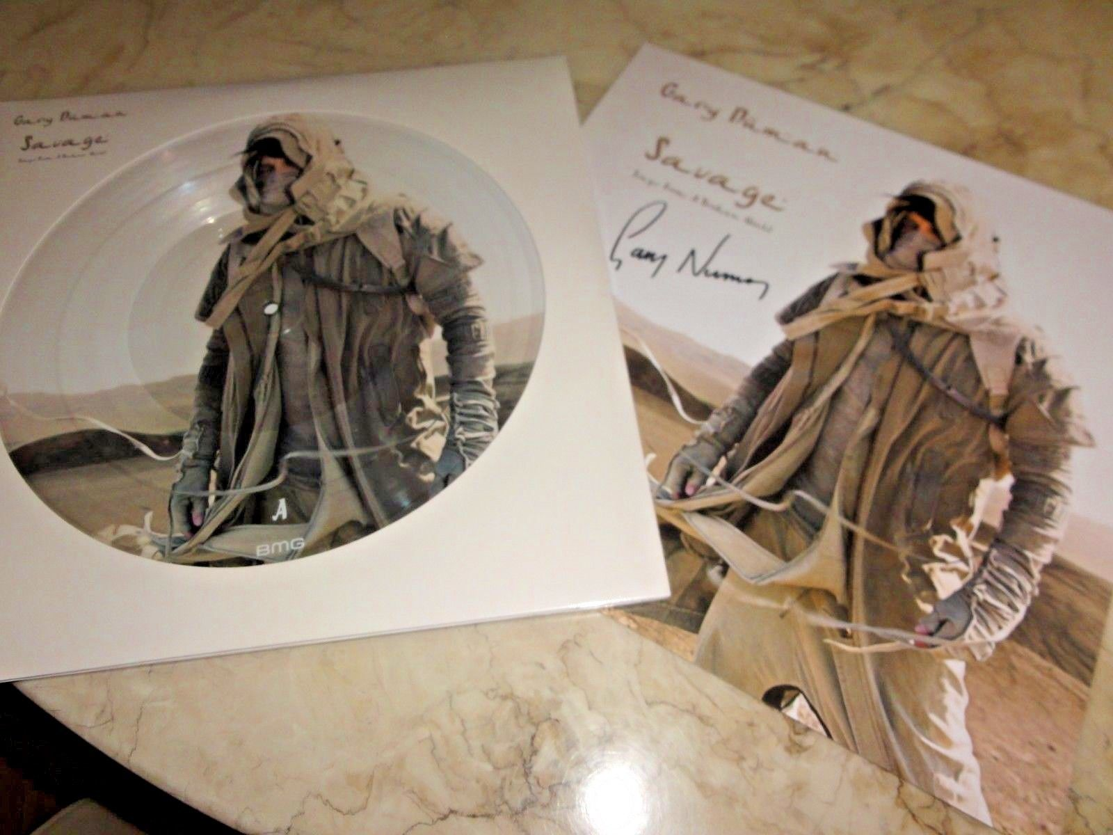 GARY NUMAN SAVAGE PICTURE DISC 2LP WITH SIGNED ARTWORK PRINT 500 ONLY SEALED