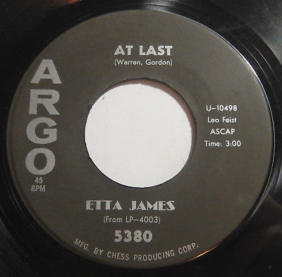 ETTA JAMES At Last/ I Just Want To Make Love 45 rpm ARGO 5380 Orig RARE R&B Soul