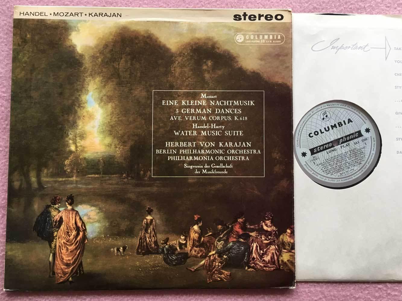 HERBERT von KARAJAN Mozart Handel ORIG Columbia b/s SAX 2389 UK-1961 LP EX-
