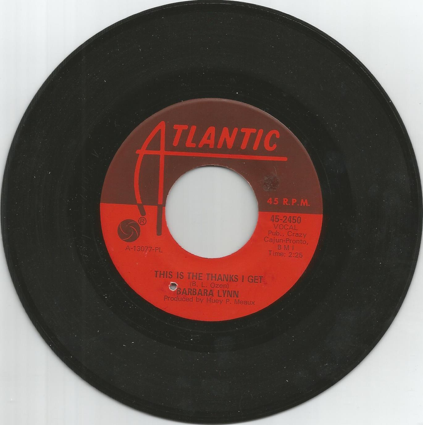 BARBARA LYNN - This is the thanks i get - NORTHERN SOUL - 7'' - 45rpm - LISTEN