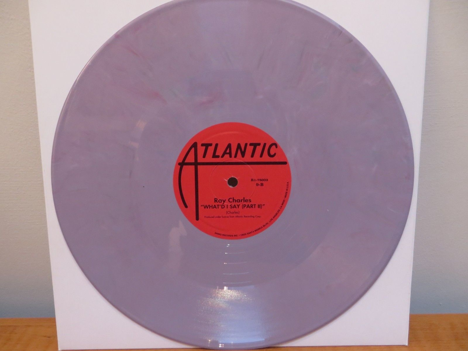 "RAY CHARLES ""WHAT'D I SAY Parts 1&2"" Atlantic Lilac Vinyl Repro 78rpm WURLITZER"