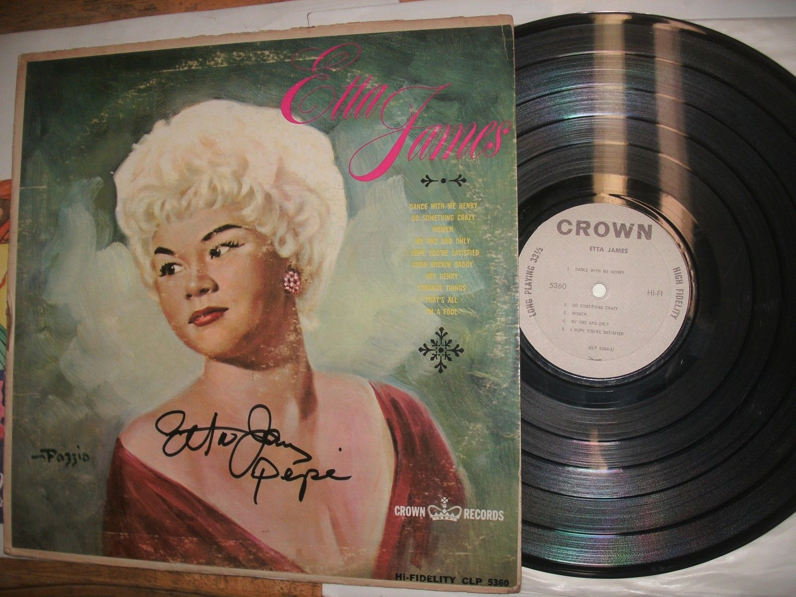 "Etta James ""Miss Etta James"" Autographed  Crown-5360,W/Program & Tickets"