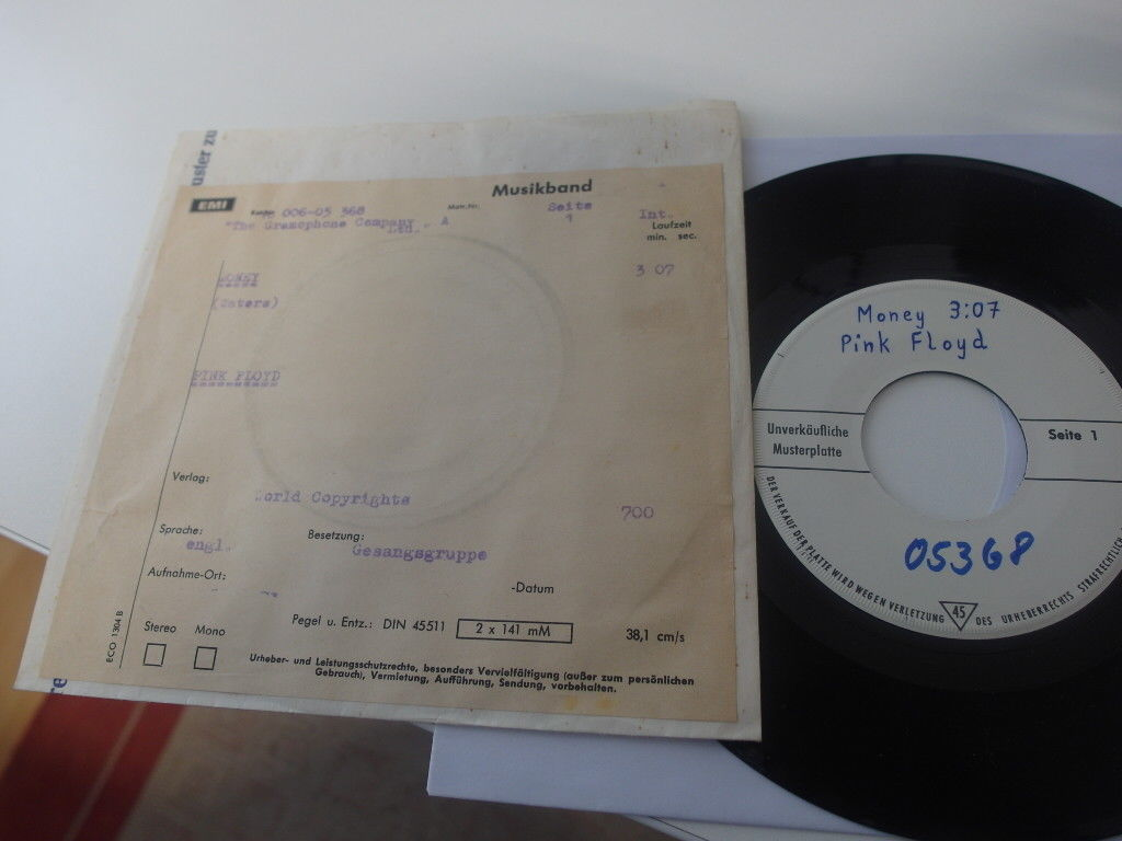 "PINK FLOYD Money 1973 Test Promo Mint Monster rare ""7 Whitelabel"