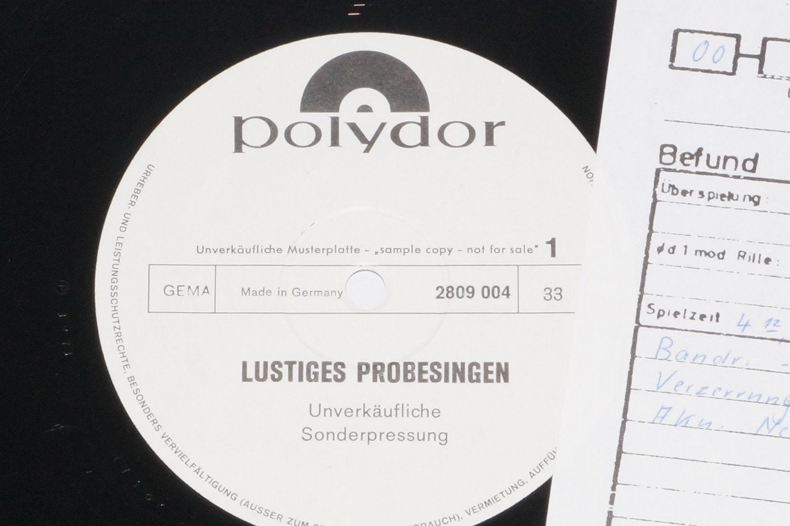 Lustiges Probesingen - Muster... LP 1971 Polydor Promo Archiv-Copy mint