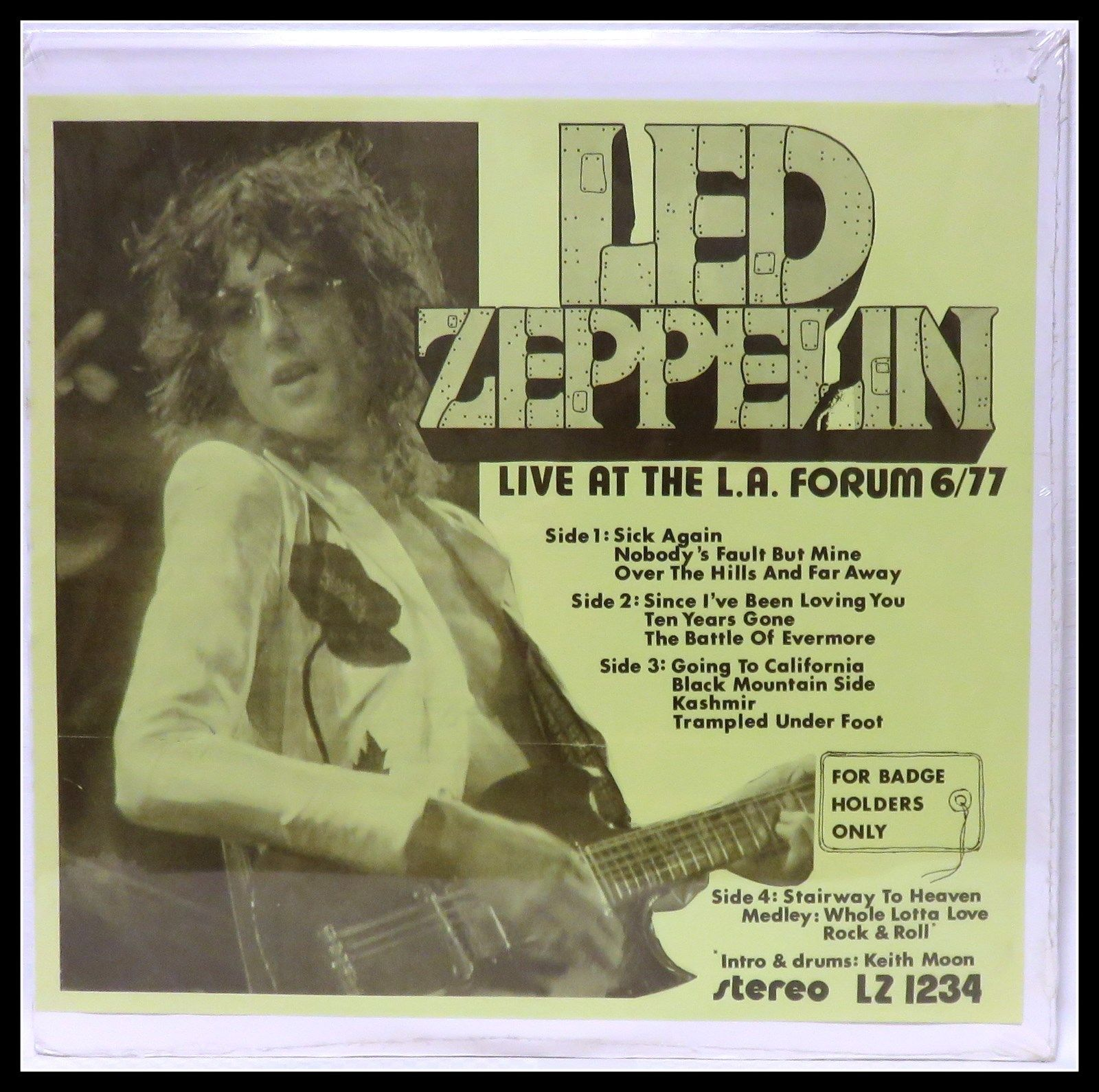 """Led Zeppelin -""""For Badge Holders Only"""" Rare Live 1977 (New Sealed) 2LPs"""