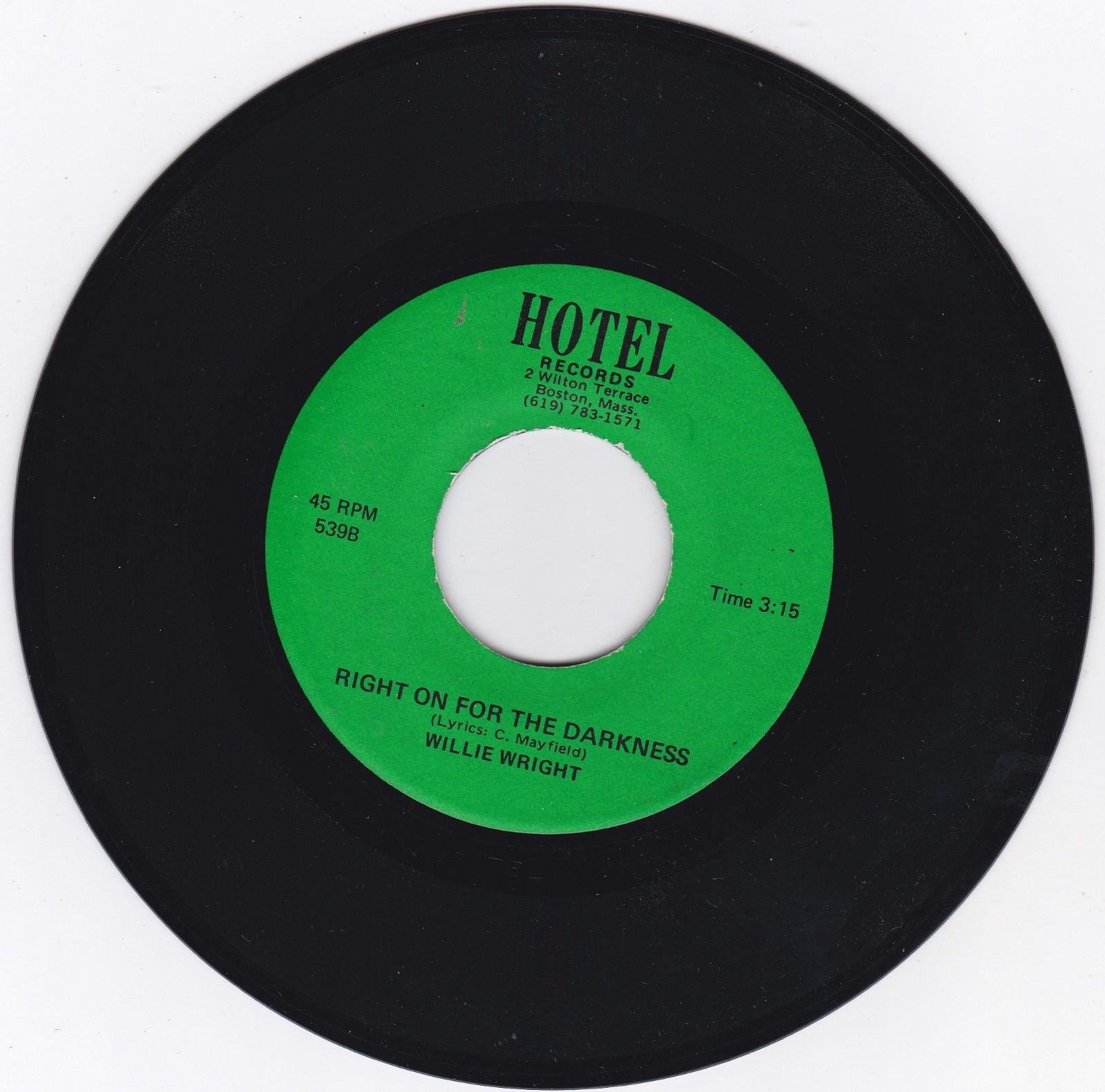 FUNK 45RPM - WILLIE WRIGHT ON HOTEL RECORDS - RARE MONSTER   KILLER   NICE COPY
