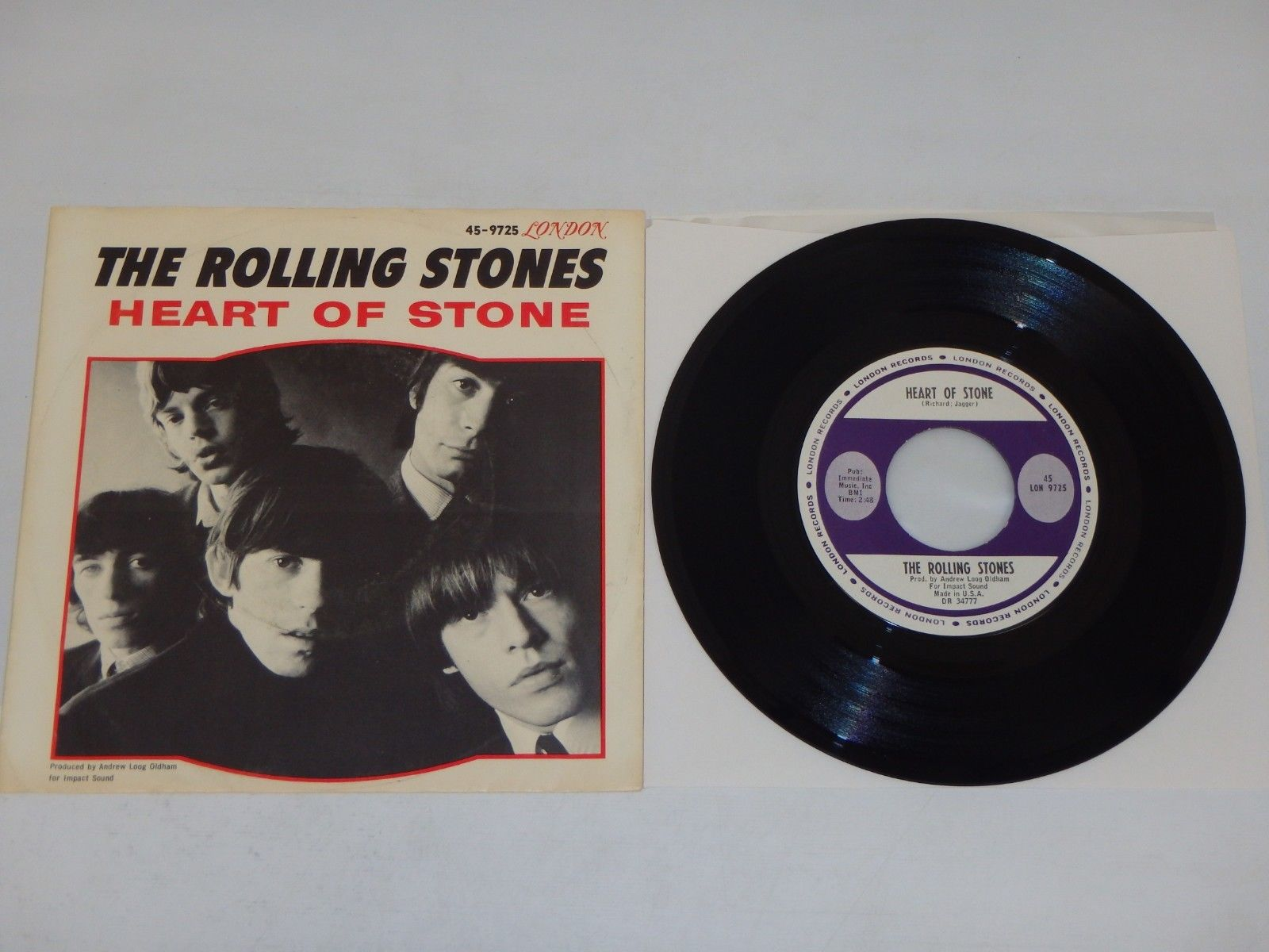 THE ROLLING STONES Heart Of Stone/ What A Shame 1964 EX  w/PS London 45-LON 9725