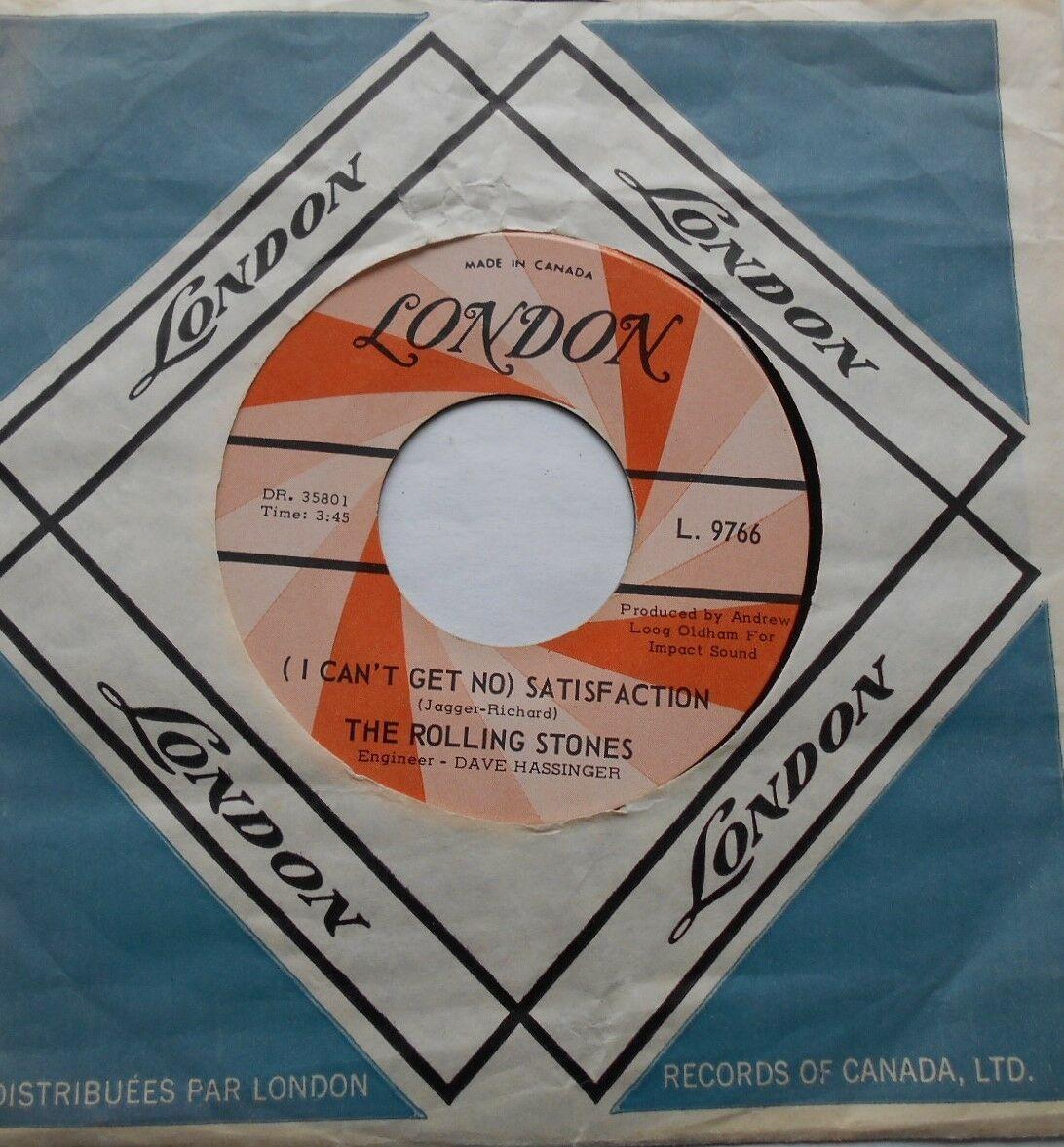 THE ROLLING STONES Satisfaction Ex to NM- CANADA 1965 ORANGE SWIRL 45 LONDON