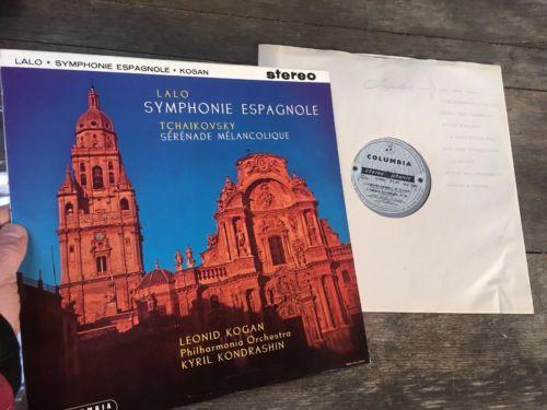 Columbia SAX 2329 Stereo 1st Press Lalo-Symphonie Espagnole Kogan Kondrashin ED1