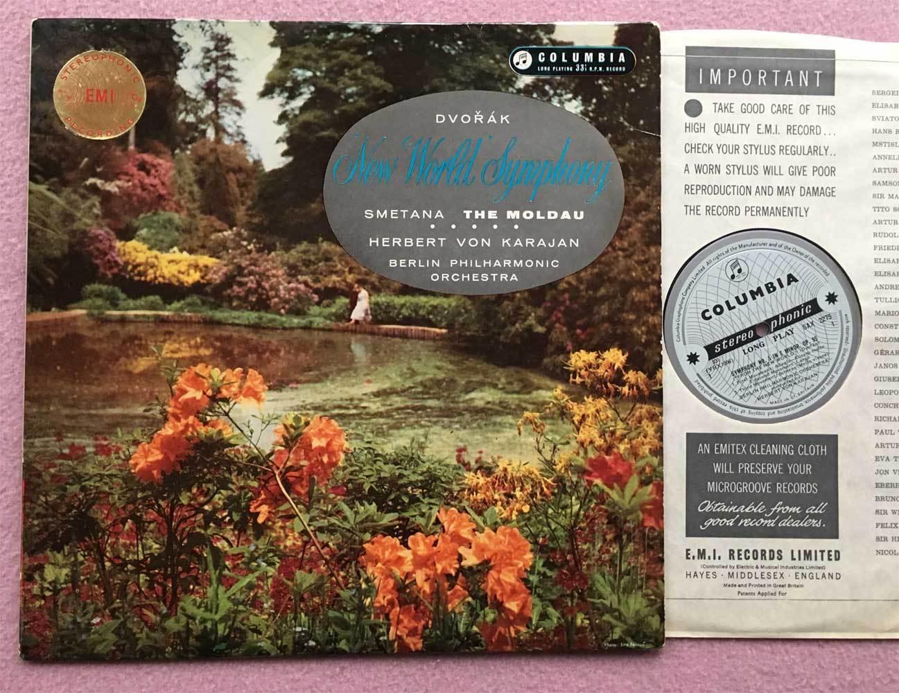 HERBERT von KARAJAN Dvorak ORIG Columbia Blue/silver SAX 2275 UK-1959 LP NM-