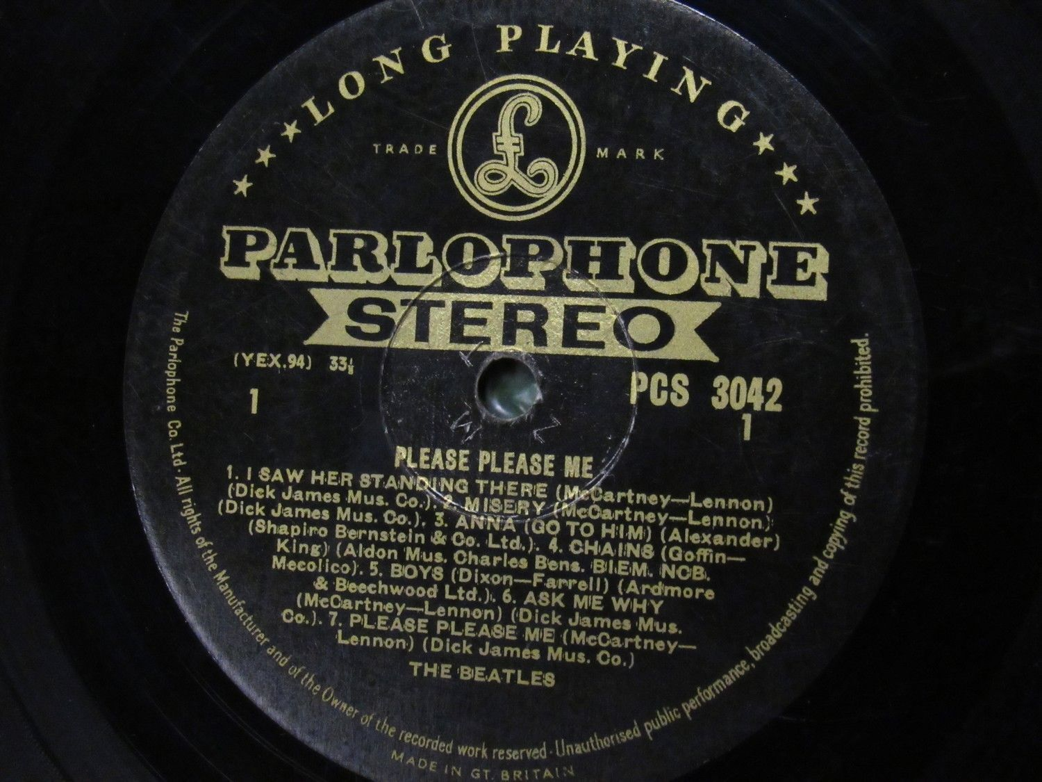 The Beatles Please Please Me Stereo Gold Label 1G 1R Super Rare ZMT Tax Code