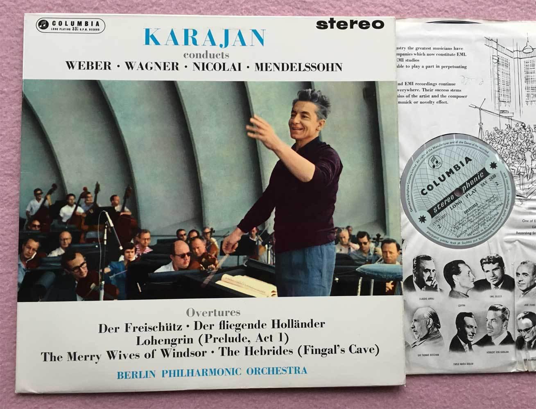 HERBERT von KARAJAN Overtures ORIG Columbia blue/silver SAX 2439 UK-1962 LP NM