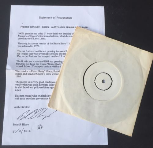 Queen Rare Freddie Mercury (Larry Lurex) I Can Hear Music 1 Sided Test Pressing