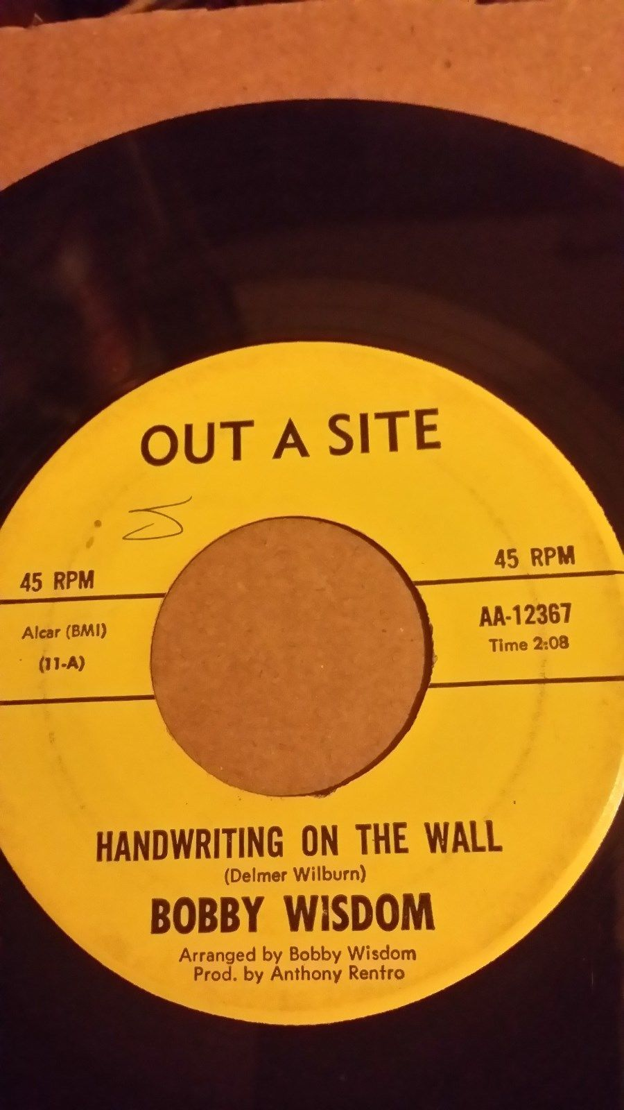 "Bobby Wisdom ""Handwriting On The Wall"" Out A Site Records Northern Soul 45"