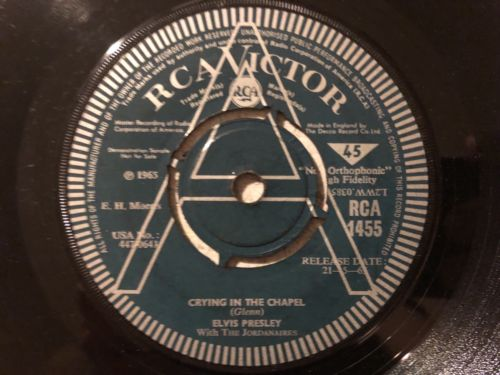 Elvis Presley Crying In The Chapel Rca Uk Demo RCA 1455 Rare Nice Condition.