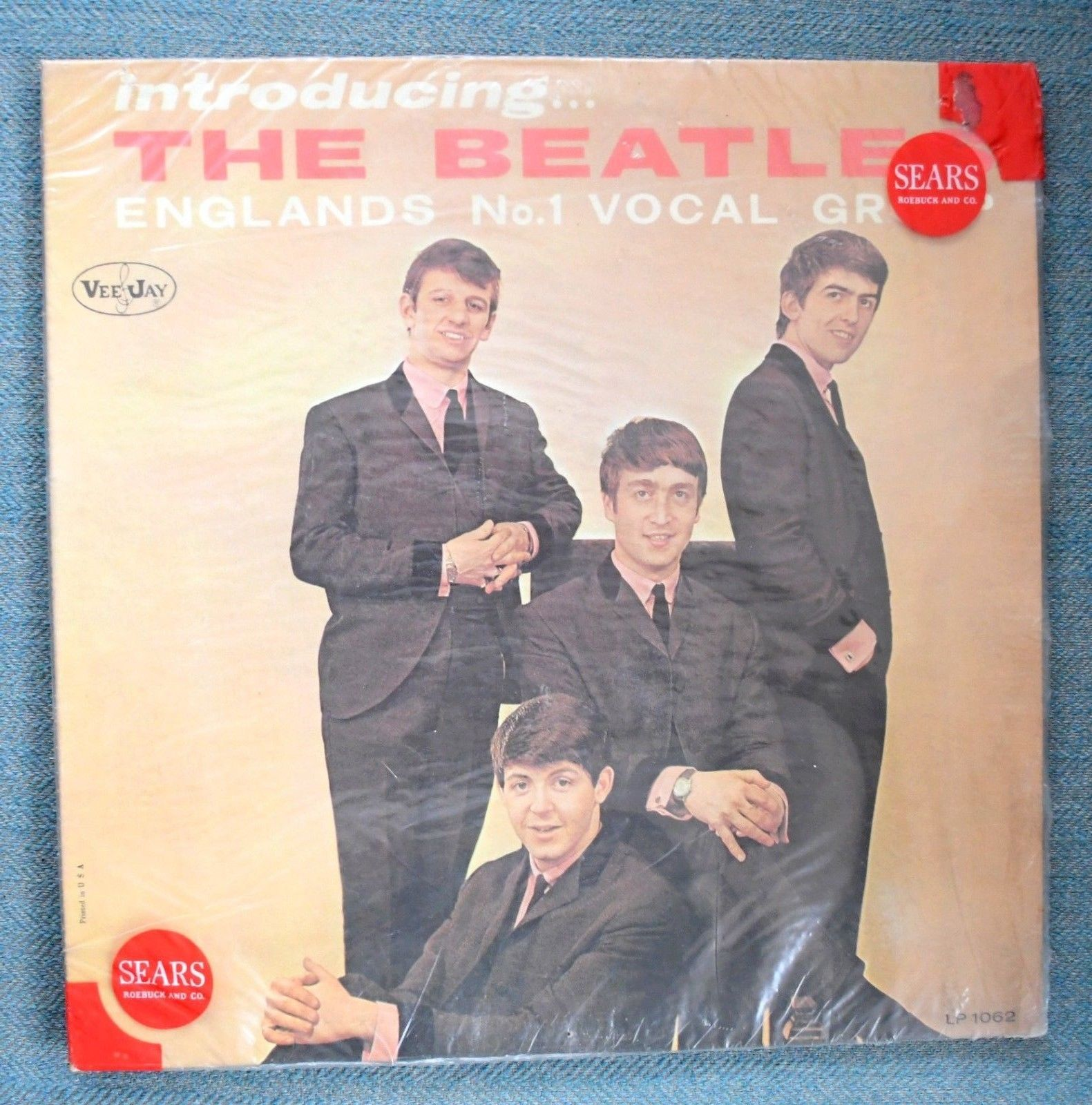 THE BEATLES, INTRODUCING THE BEATLES, Vee-Jay MONO AD BACK SEARS BAGGY