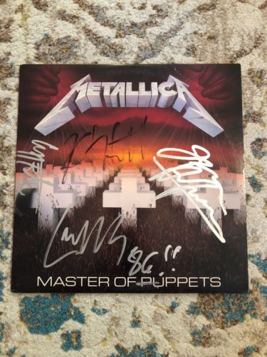 METALLICA   MASTER OF PUPPETS LP   HAND SIGNED BY BAND   Cliff Burton   '86 Rare