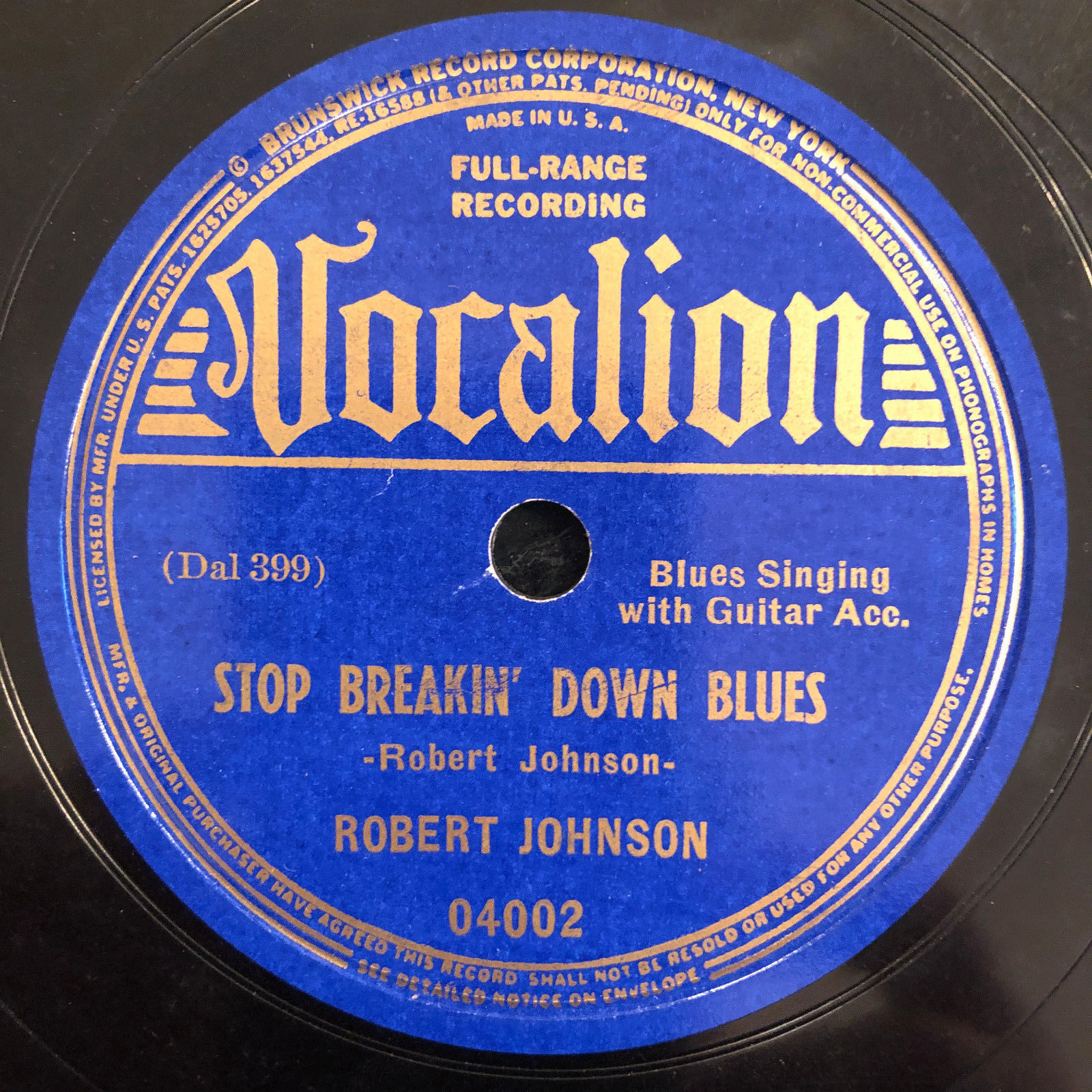 Vocalion 0402 ROBERT JOHNSON Stop Breaking Down 78 rpm 1937 Delta Blues E