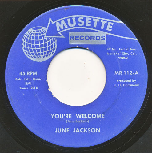 JUNE JACKSON on Musette —YOU'RE WELCOME— northern soul 45 | ORIG | LISTEN