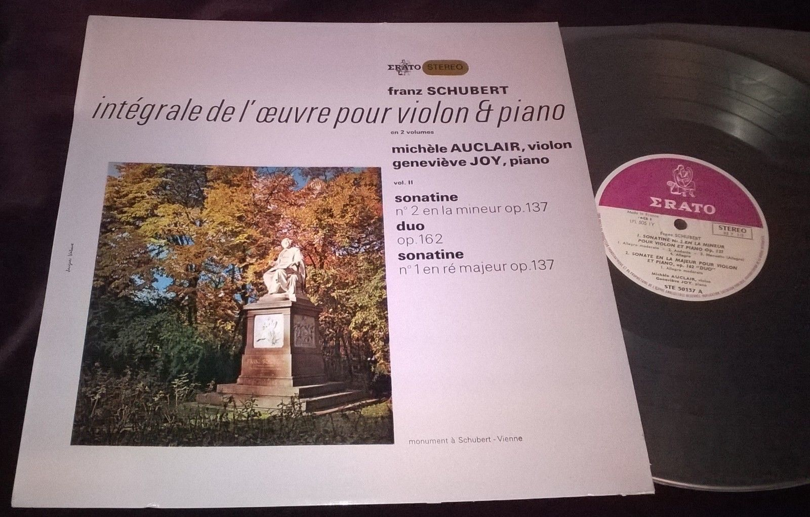 MICHELE AUCLAIR / GENEVIEVE JOY - SCHUBERT LP ERATO STE 50137 STEREO FRENCH ED1