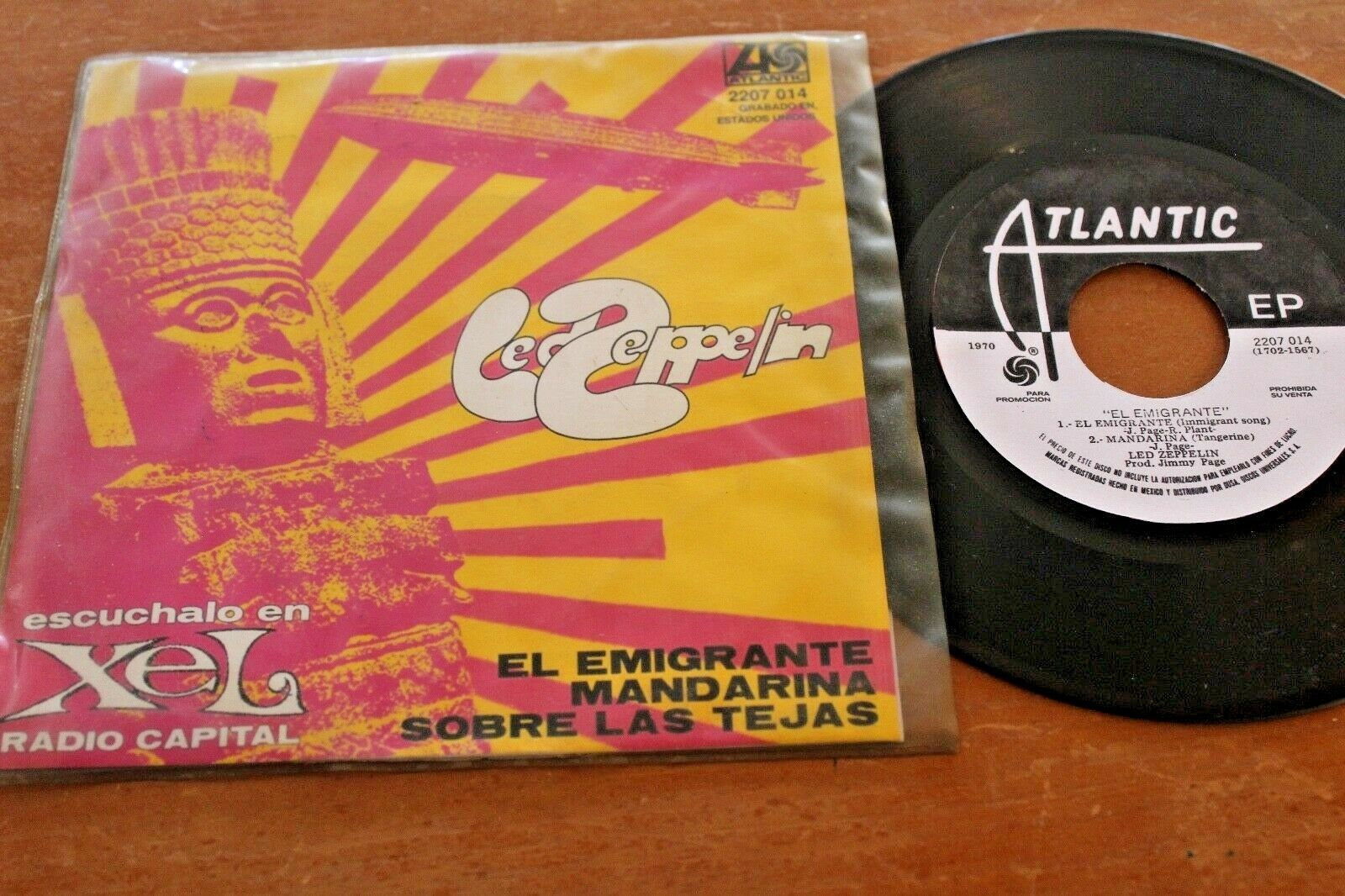 "LED ZEPPELIN Immigrant Song +2 1970 MEXICO RADIO PROMO 7"" EP Psych"