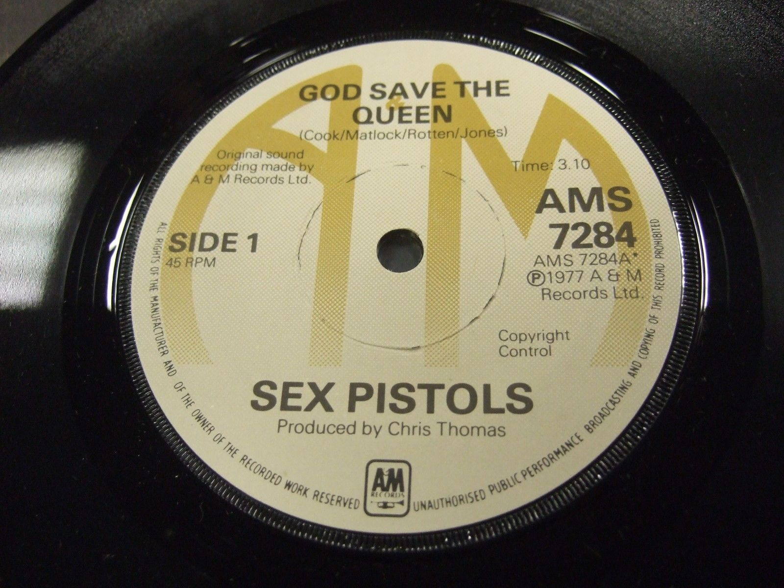 SEX PISTOLS GOD SAVE THE QUEEN A&M ORIGINAL SINGLE WITH MAILER AND LETTER