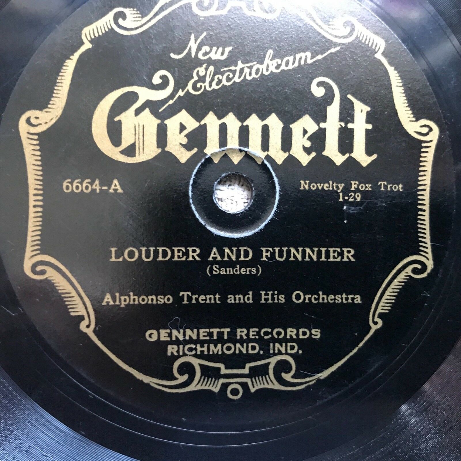 Alphonso Trent And His Orchestra - Gilded Kisses / Louder...78 RPM Gennett 6664