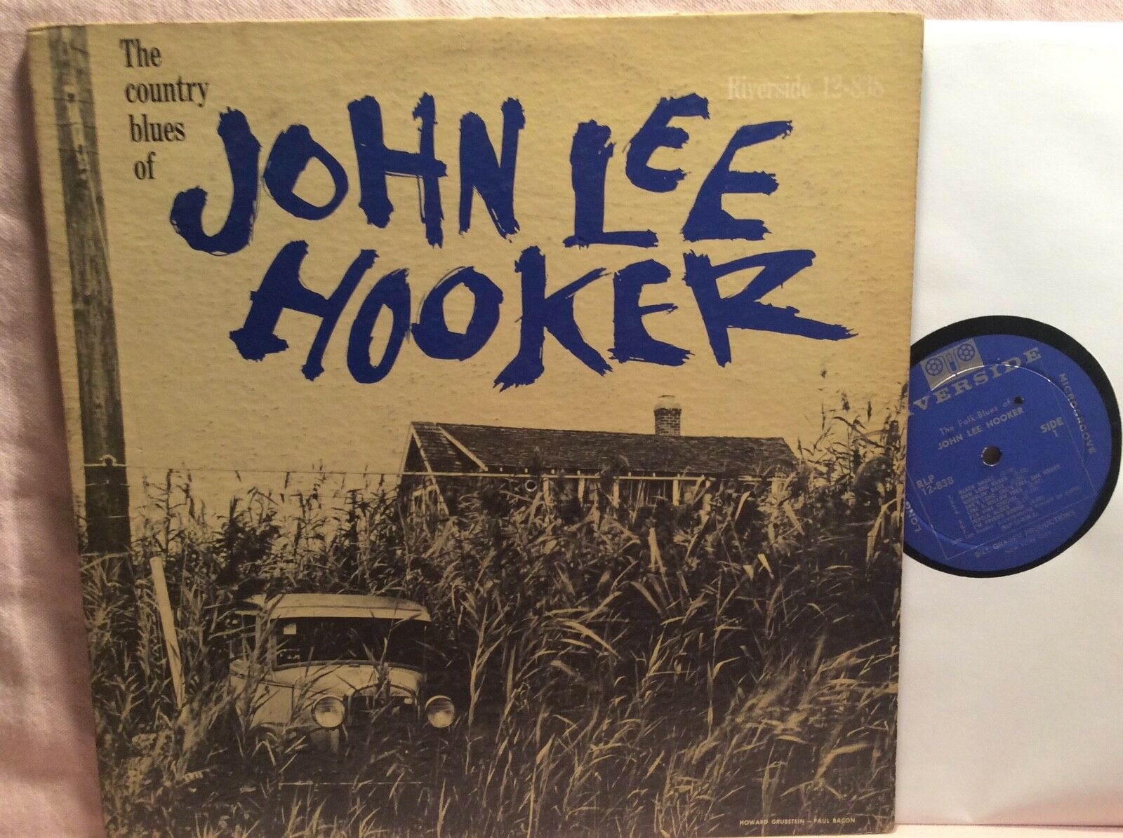 JOHN LEE HOOKER LP The Country Blues RIVERSIDE og BLUE Reel Mic Label Nice Copy