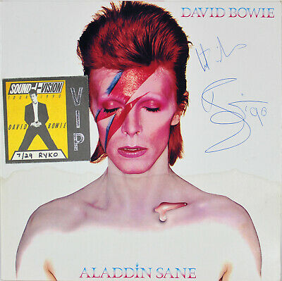"David Bowie ""Best Wishes"" Signed Aladdin Sane Album Cover W/ Vinyl BAS #A08831"