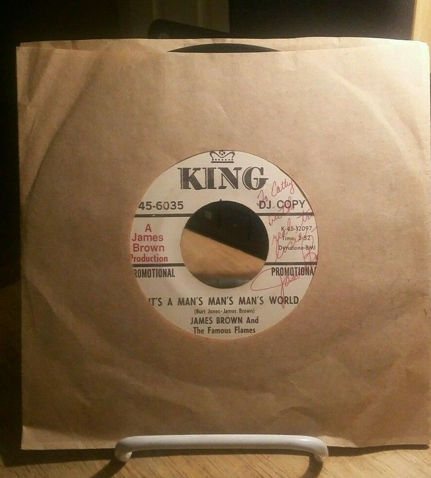 JAMES BROWN It's A Man's Man's Man's World 45 Funk Promo SIGNED AS SEEN