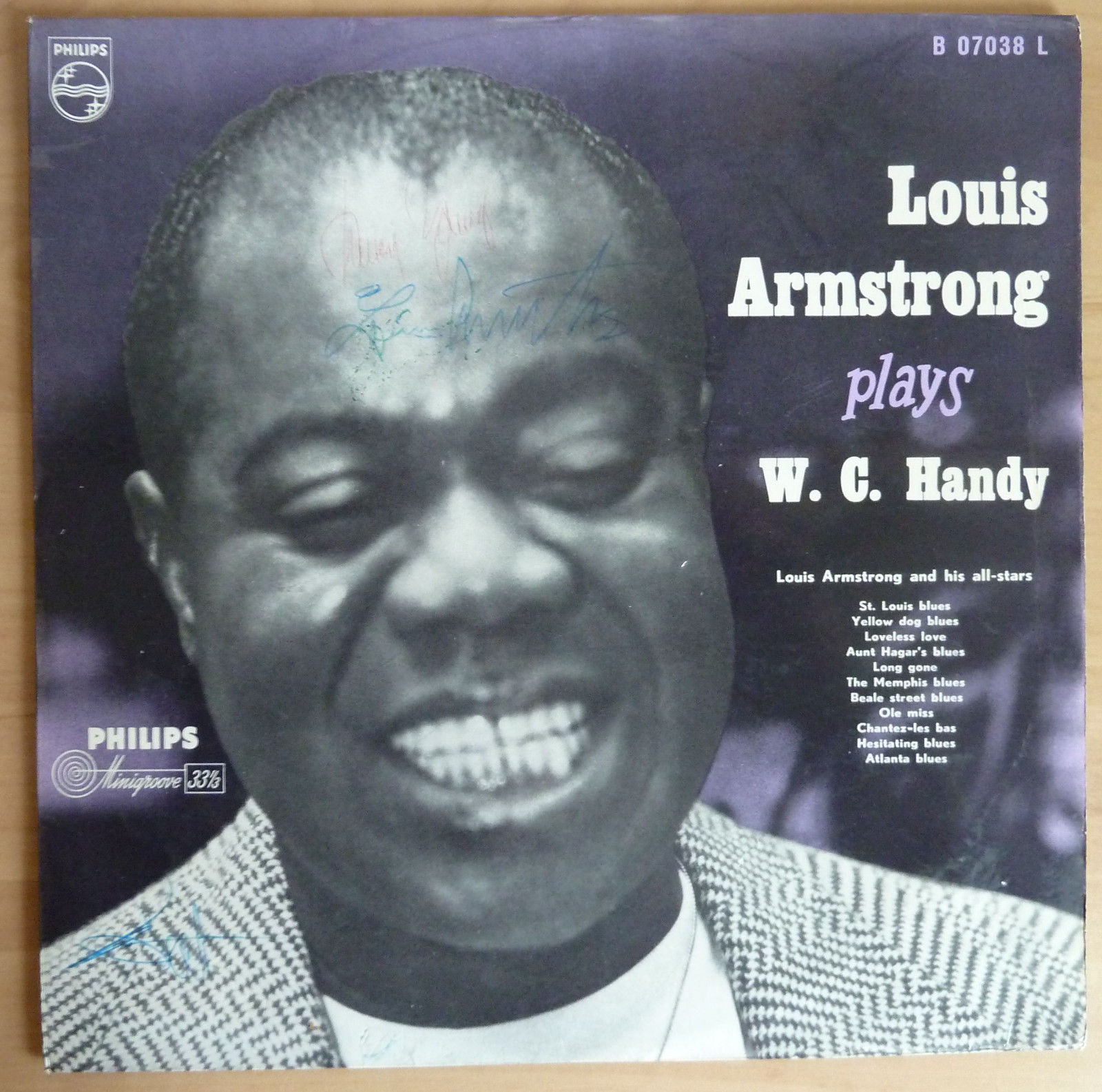 Louis Armstrong Plays W.C. Handy Autographed  Philips 1954 Mono Minigroove