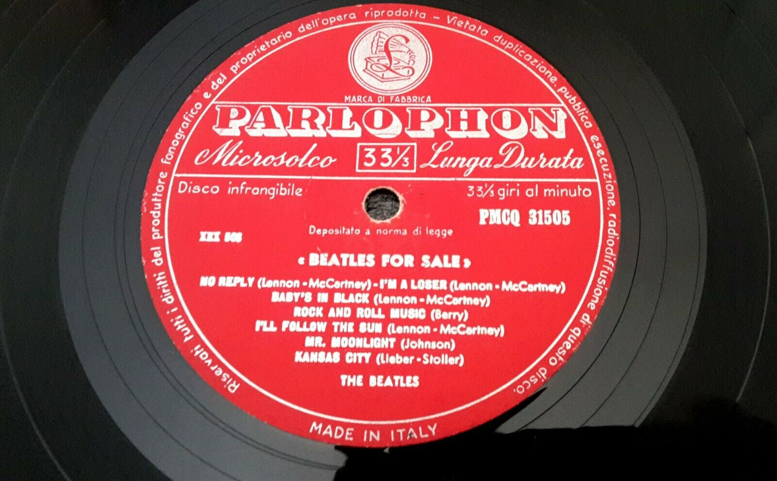 """THE BEATLES (33 RPM - ITALY) """"BEATLES FOR SALE""""  PMCQ 31505 - TOP-RARE RED LABEL"""