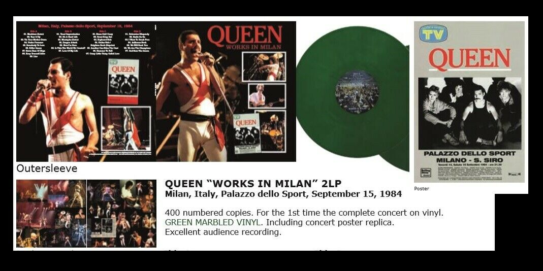 QUEEN WORKS IN MILAN LIVE ITALY 1984 CONCERT LIMITED 500 COLORED VINYL LP SET