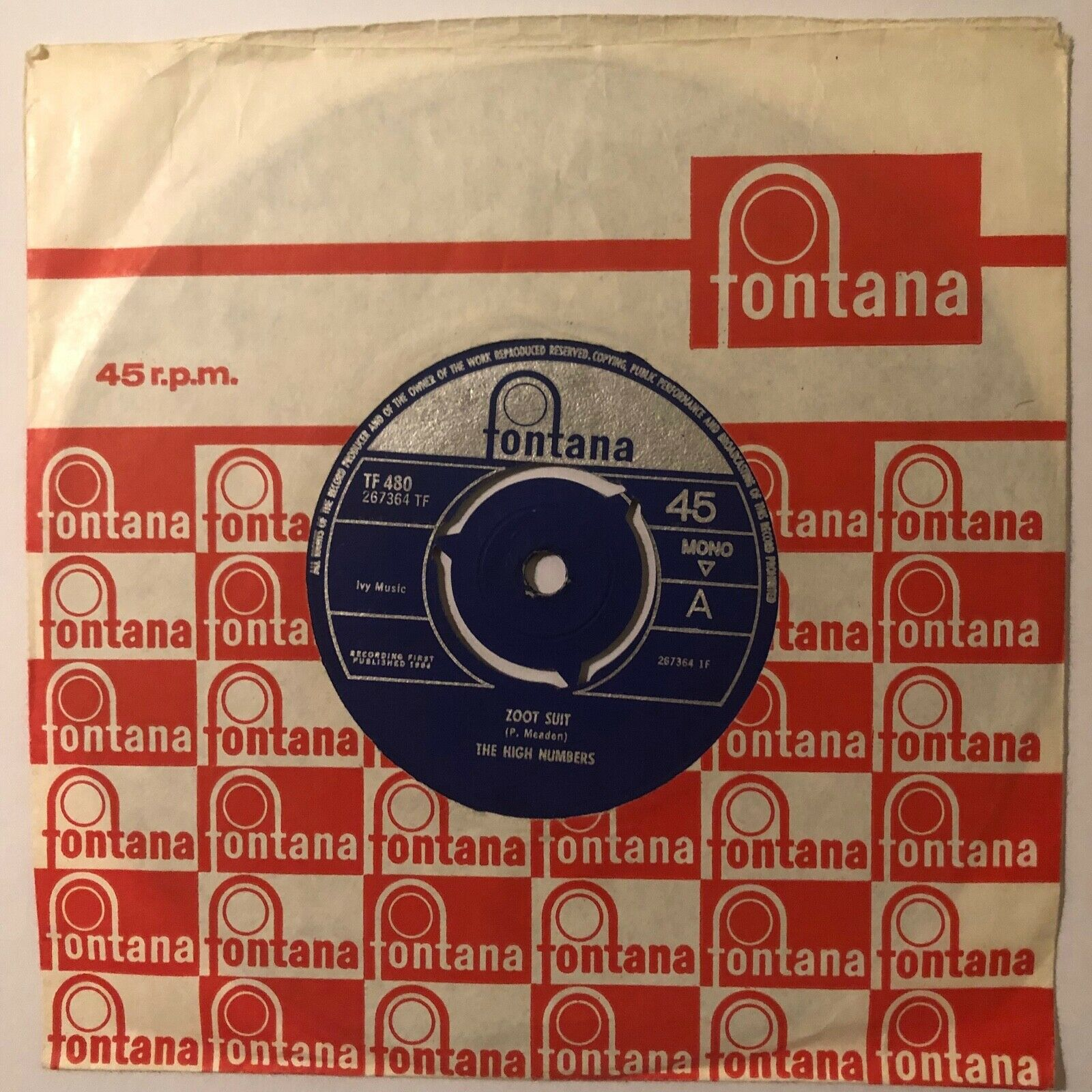 The High Numbers Zoot Suit/I'm The Face The Who Original single TF480 1964