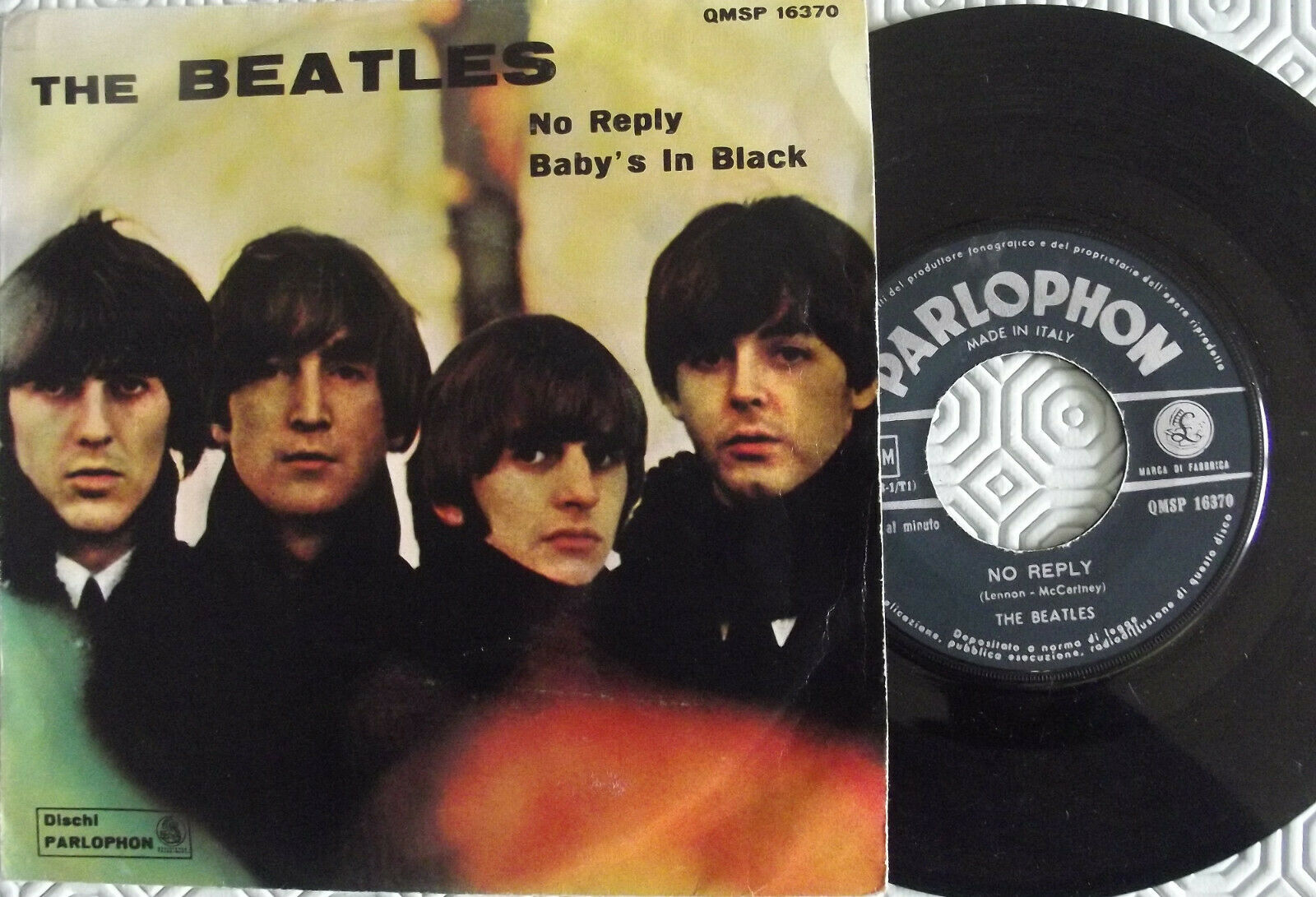 """7""""-THE BEATLES-NO REPLY/BAY'S IN BACK-1° STAMPA ITALIANA 1964-QMSP 16370"""