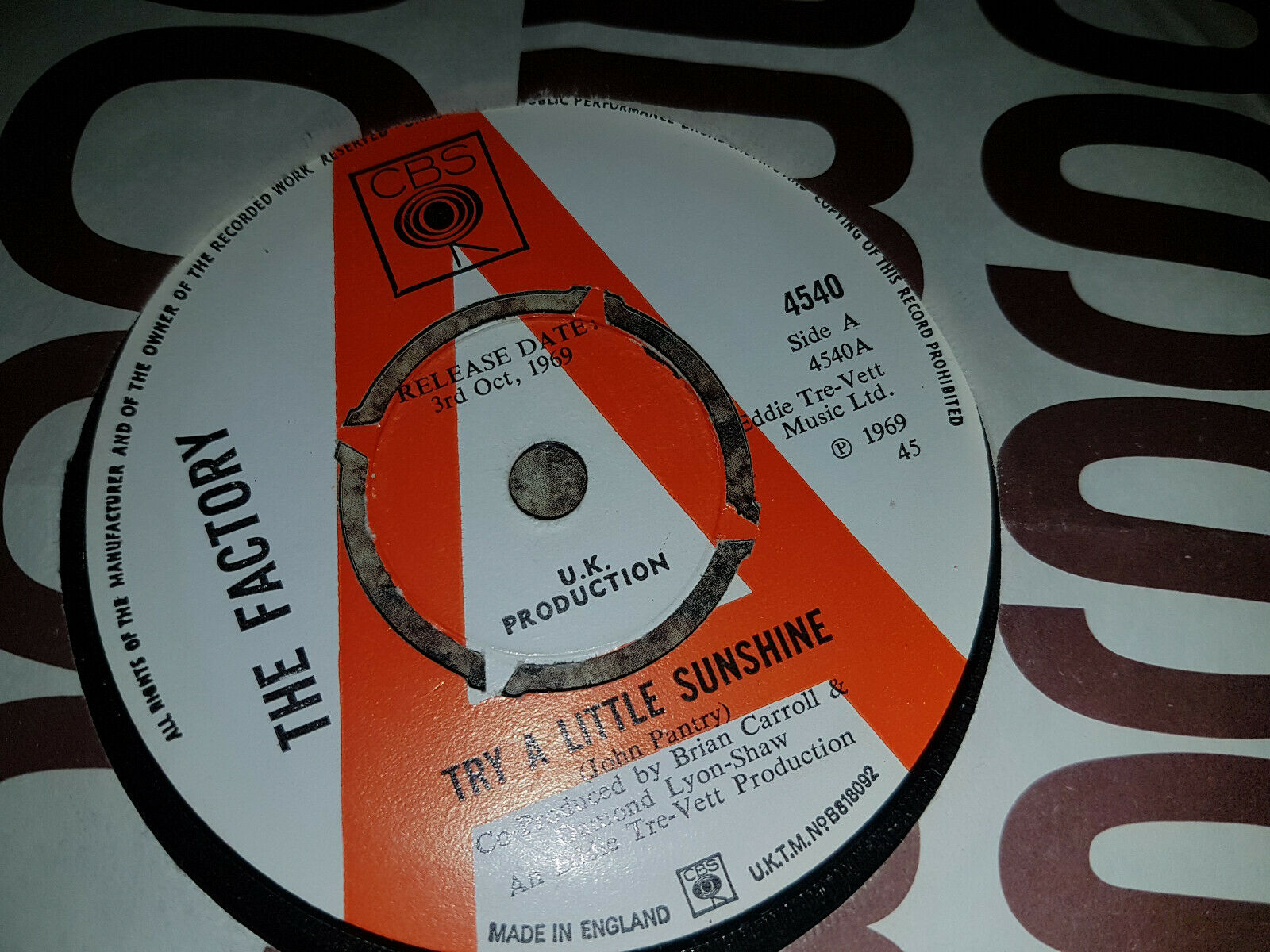 "THE FACTORY  "" TRY A LITTLE SUNSHINE ""  MOSTER RARE SUPER ORIGINAL UK PSYCH 7"""