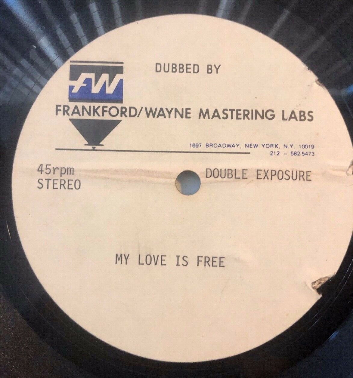 """DOUBLE EXPOSURE my love is free 12"""" DISCO ONE-OF-A-KIND ACETATE FRANKFORD/WAYNE"""