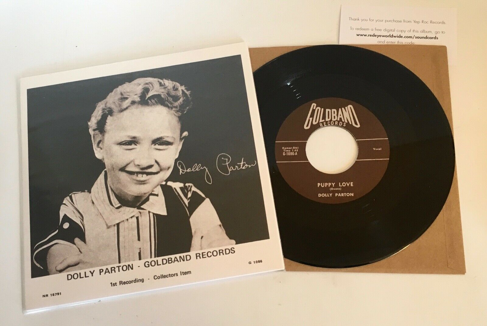 """Dolly Parton First recording / Puppy Love / 2017 release 7"""" 45 & PS Mint"""