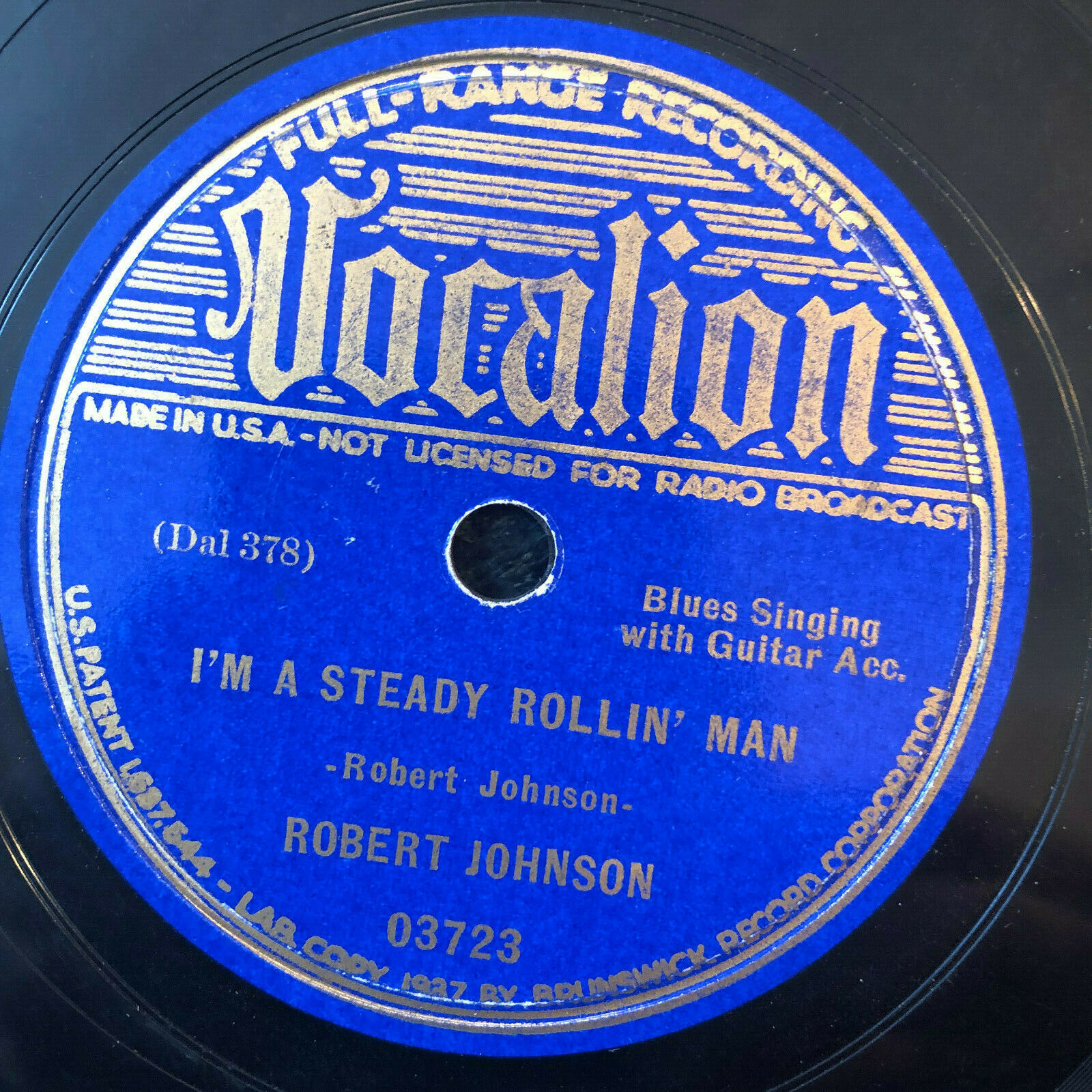 Vocalion 03723 ROBERT JOHNSON Stones In My Passway 78 rpm1937  Blues EE-/E-