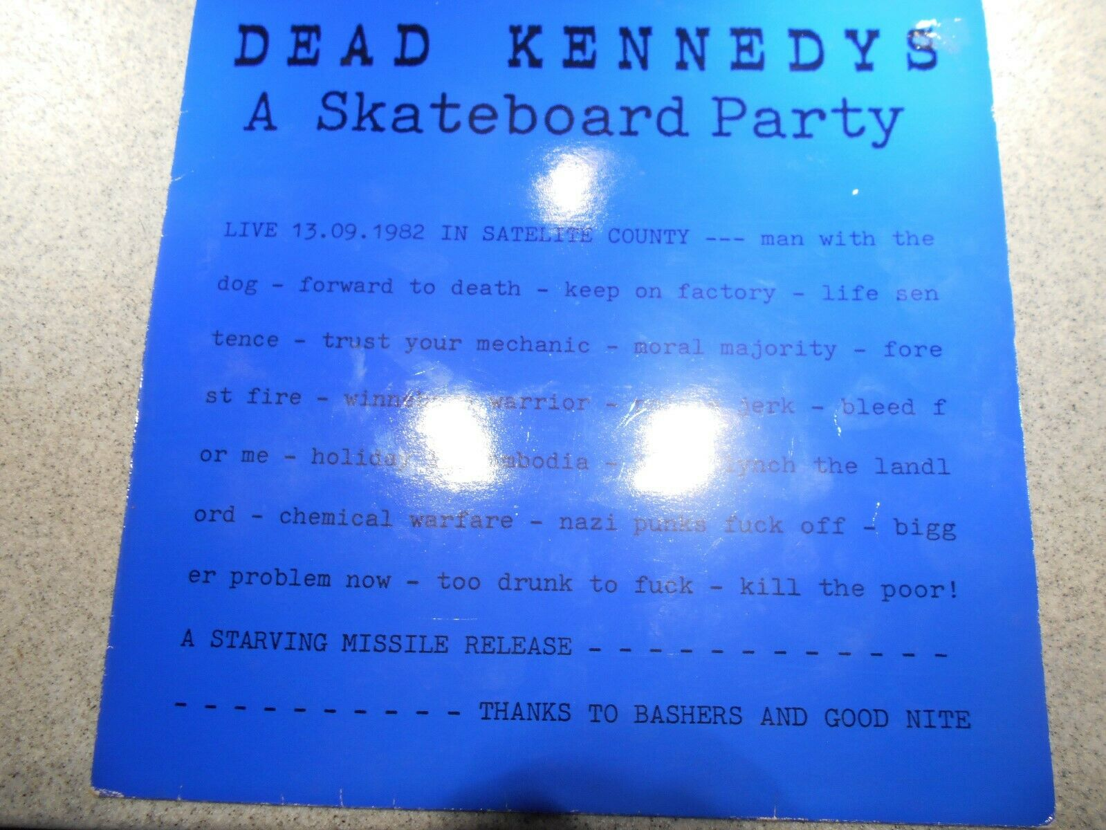 DEAD KENNEDYS   A SKATEBOARD PARTY    LP   STARVING MISSLE LABEL