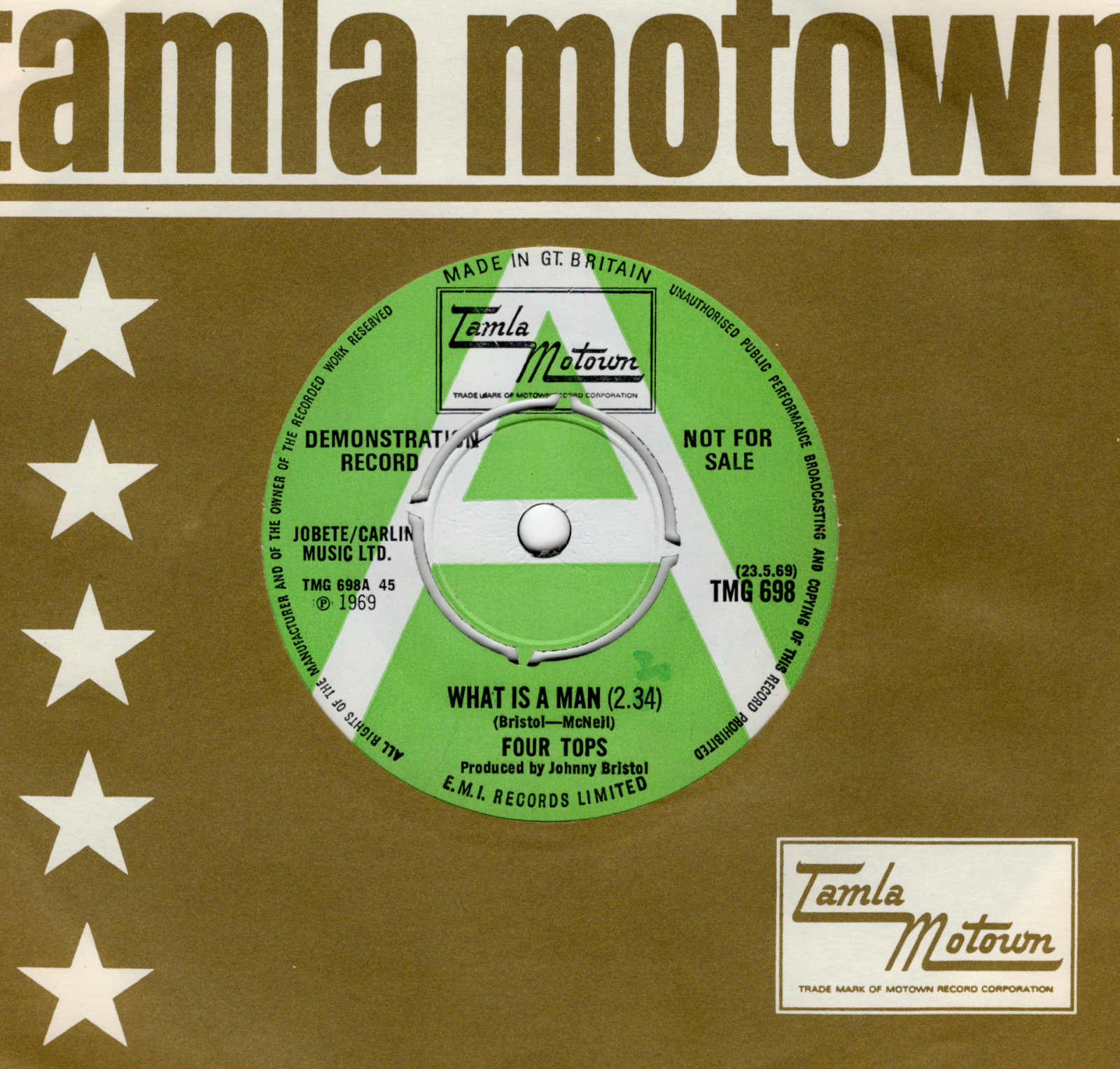 FOUR TOPS-WHAT IS A MAN/DON'T BRING BACK-TAMLA MOTOWN-***GREEN/WHITE DEMO***